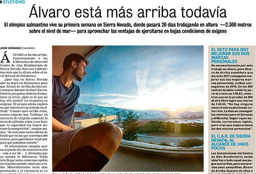 Reportaje en La Gaceta de Salamanca sobre mi entrenamiento en Sierra Nevada